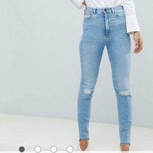 Asos 26 Tall Jeans High Waist Ripped Mom Farleigh